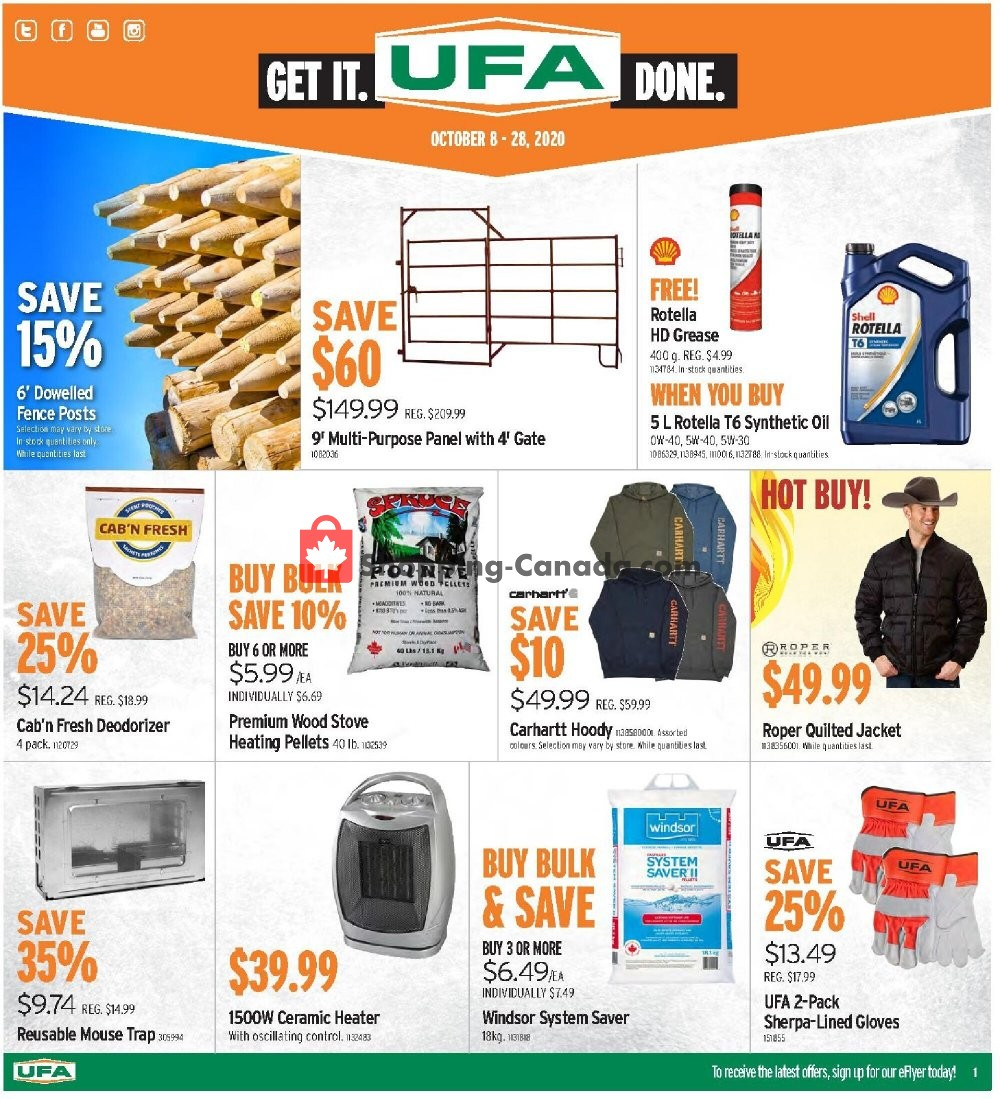 Flyer United Farmers Of Alberta Canada - from Thursday October 8, 2020 to Wednesday October 28, 2020