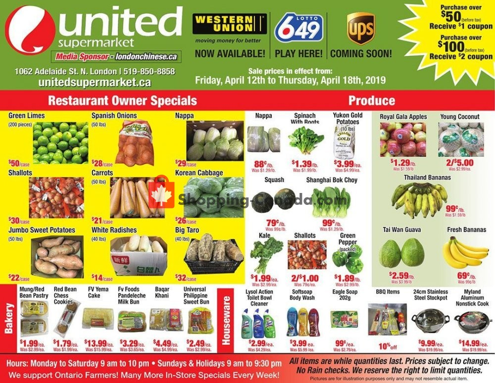 Flyer United Supermarket Canada - from Friday April 12, 2019 to Thursday April 18, 2019
