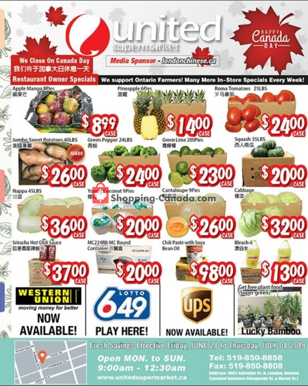 Flyer United Supermarket Canada - from Friday June 28, 2019 to Thursday July 4, 2019