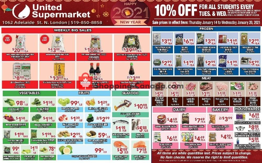 Flyer United Supermarket Canada - from Thursday January 14, 2021 to Wednesday January 20, 2021