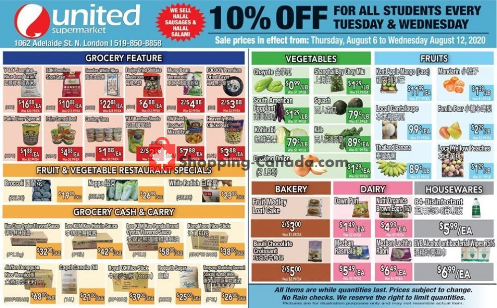 Flyer United Supermarket Canada - from Thursday August 6, 2020 to Wednesday August 12, 2020