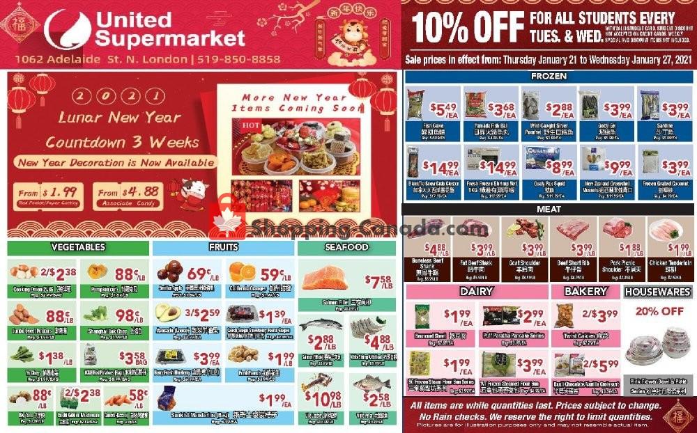 Flyer United Supermarket Canada - from Thursday January 21, 2021 to Wednesday January 27, 2021