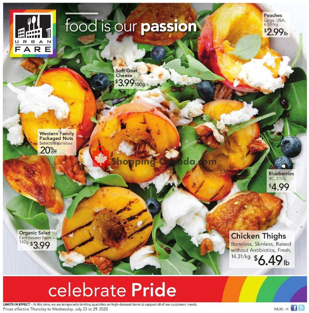 Flyer Urban Fare Canada - from Thursday July 23, 2020 to Wednesday July 29, 2020