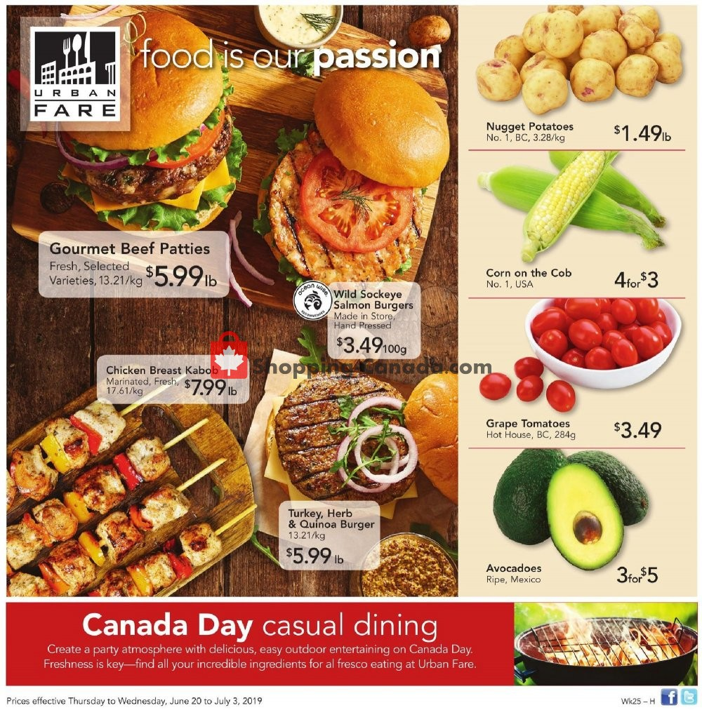Flyer Urban Fare Canada - from Thursday June 20, 2019 to Wednesday July 3, 2019