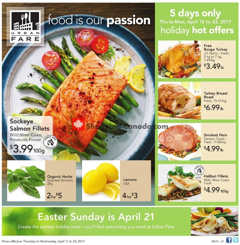 Flyer Urban Fare Canada - from Thursday April 18, 2019 to Monday April 22, 2019
