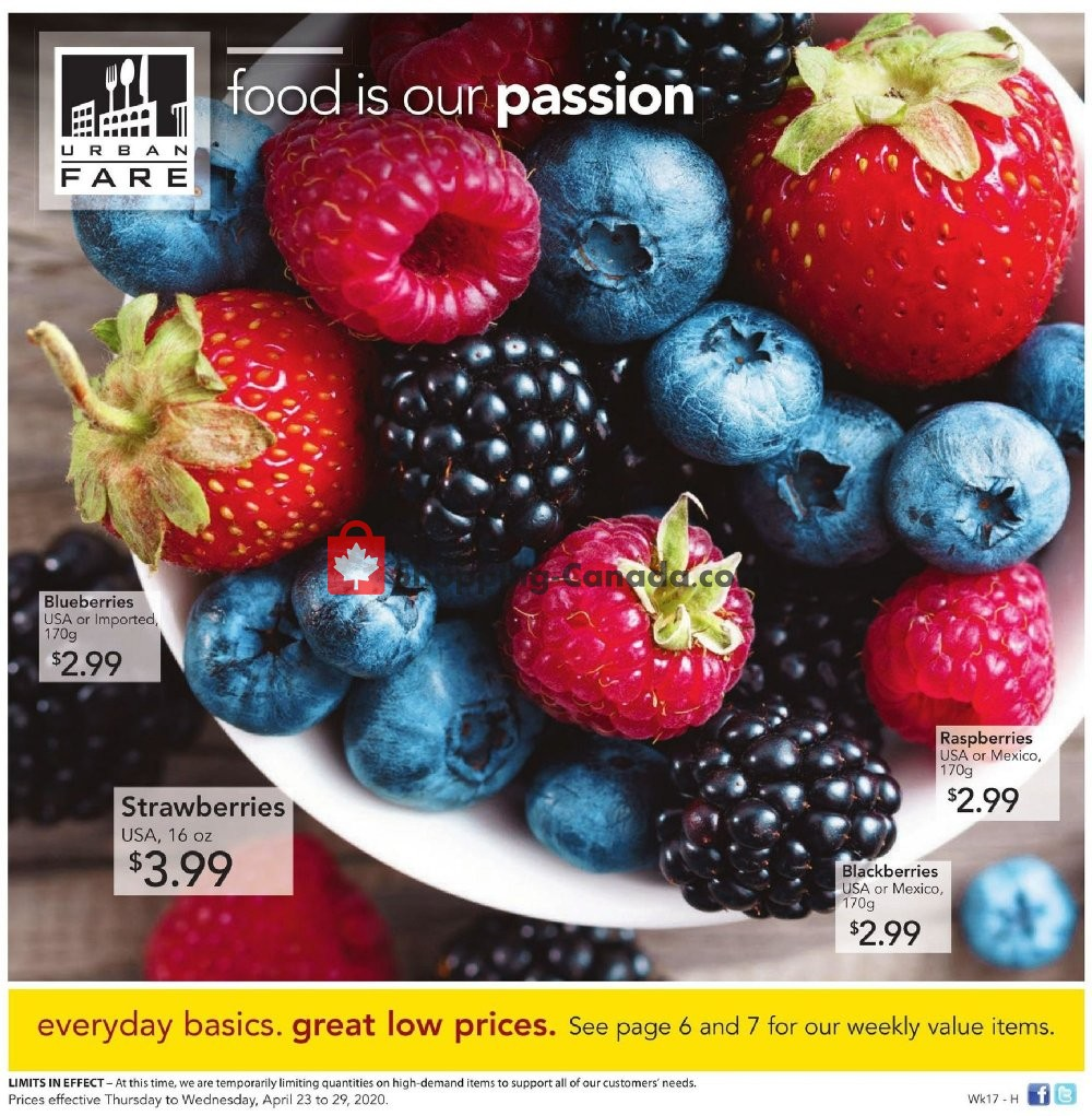 Flyer Urban Fare Canada - from Thursday April 23, 2020 to Wednesday April 29, 2020