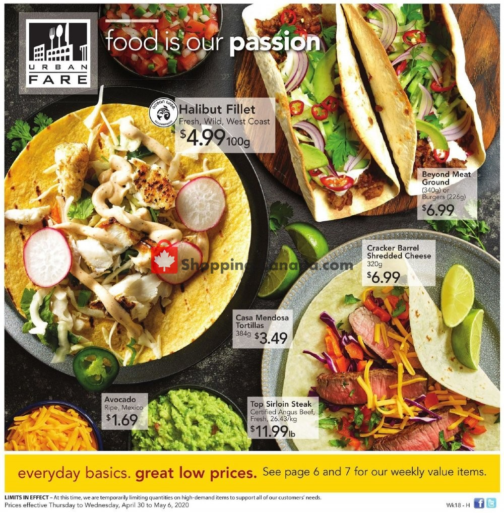 Flyer Urban Fare Canada - from Thursday April 30, 2020 to Wednesday May 6, 2020
