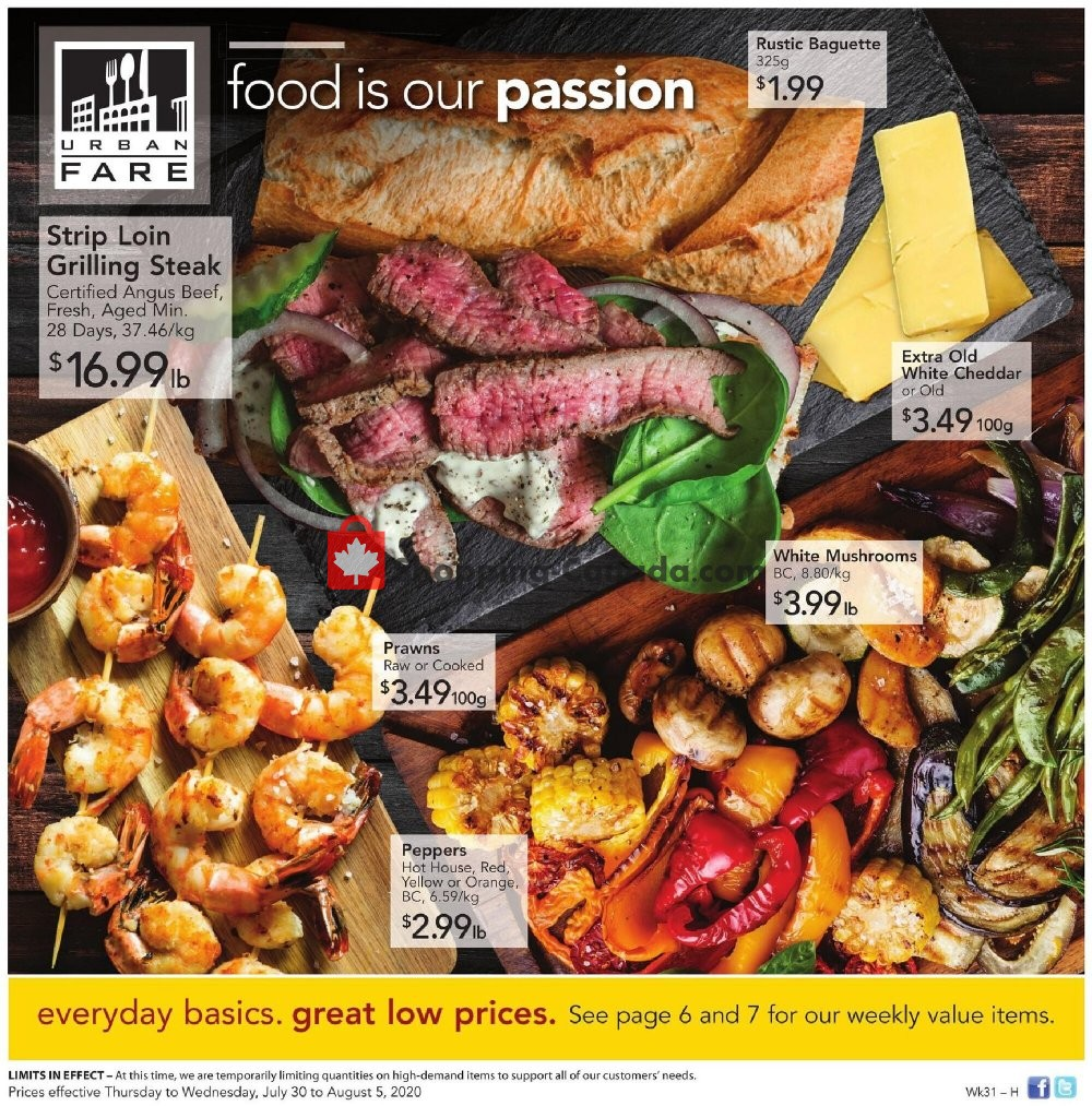 Flyer Urban Fare Canada - from Thursday July 30, 2020 to Wednesday August 5, 2020