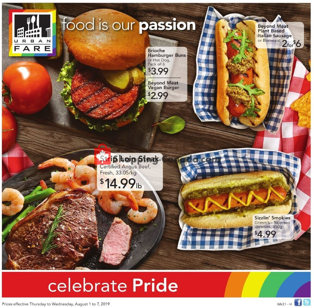Flyer Urban Fare Canada - from Thursday August 1, 2019 to Wednesday August 7, 2019