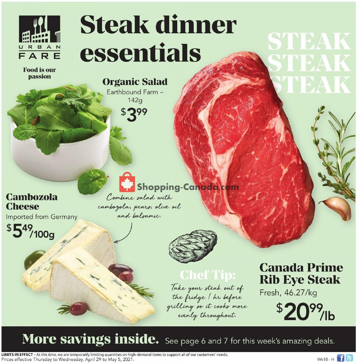 Flyer Urban Fare Canada - from Thursday April 29, 2021 to Wednesday May 5, 2021