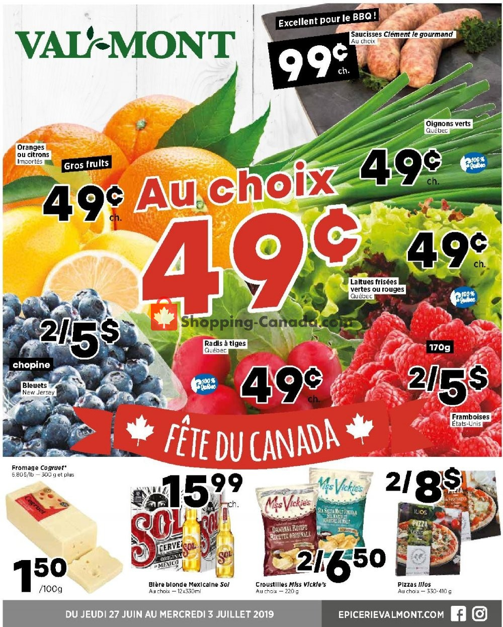 Flyer Val-Mont Canada - from Thursday June 27, 2019 to Wednesday July 3, 2019
