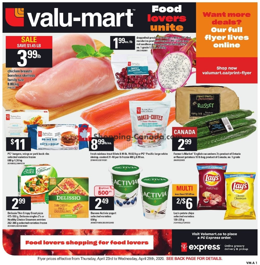 Flyer Valu Mart Canada - from Thursday April 23, 2020 to Wednesday April 29, 2020