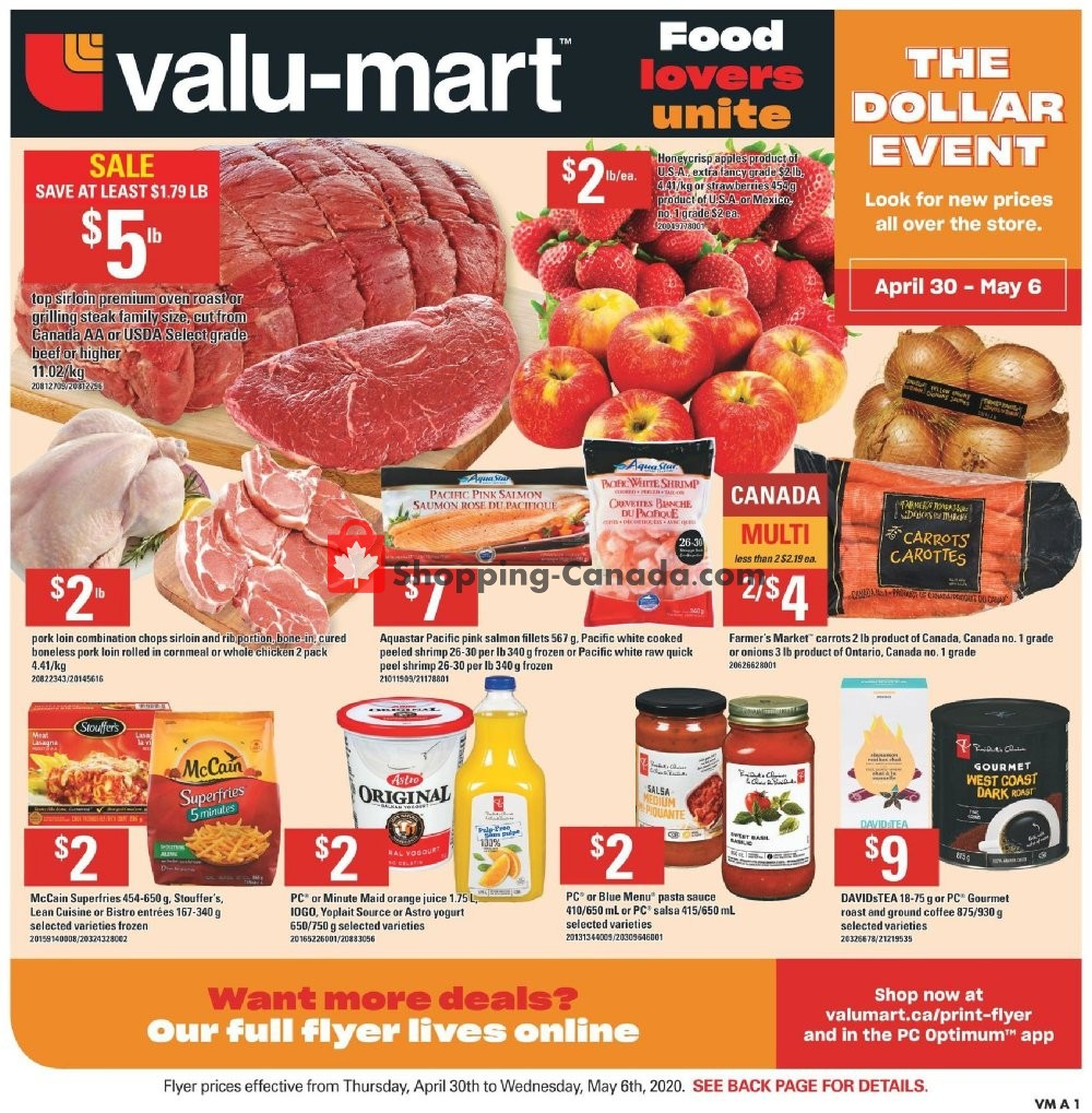 Flyer Valu Mart Canada - from Thursday April 30, 2020 to Wednesday May 6, 2020