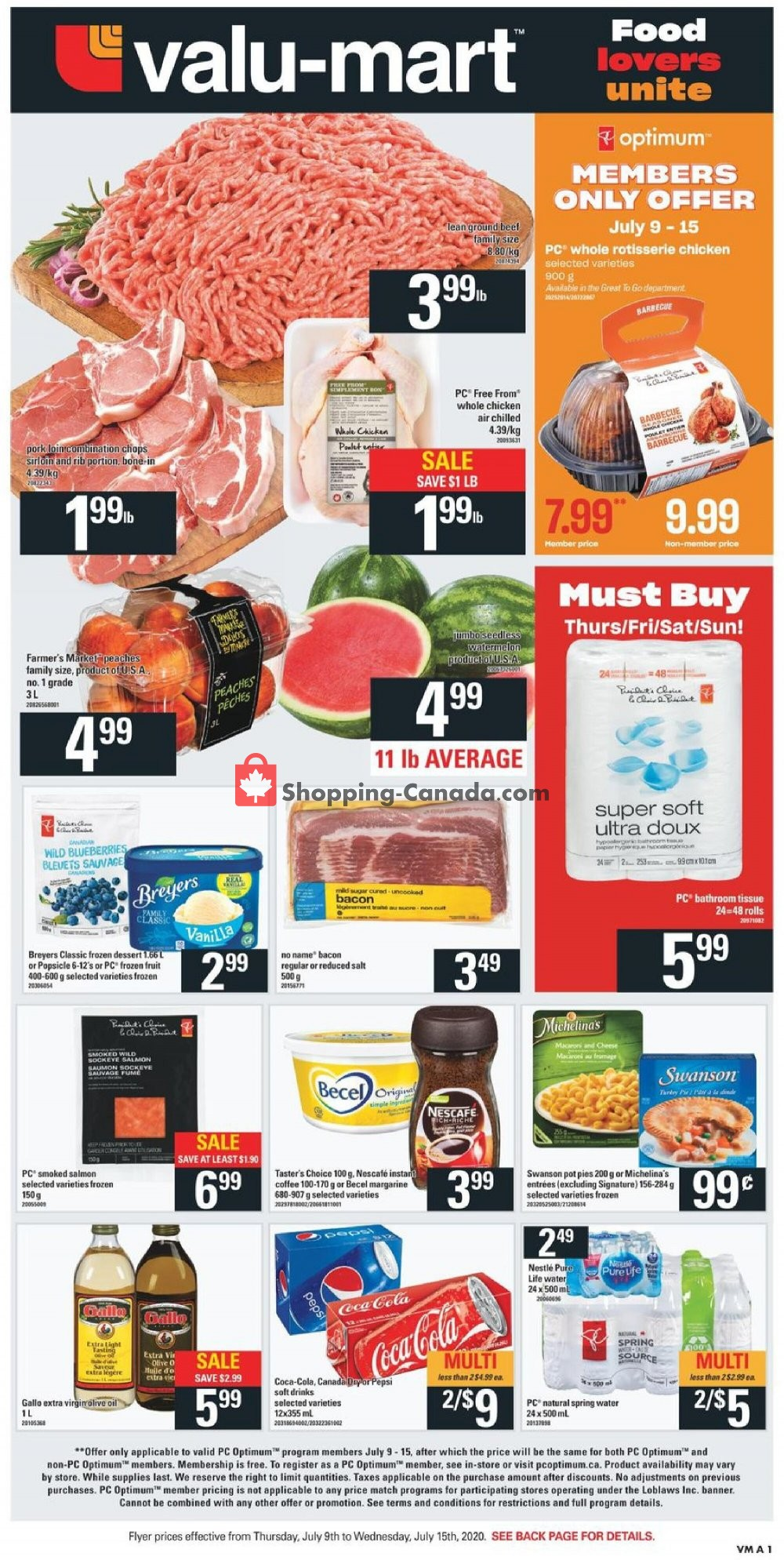 Flyer Valu Mart Canada - from Thursday July 9, 2020 to Wednesday July 15, 2020