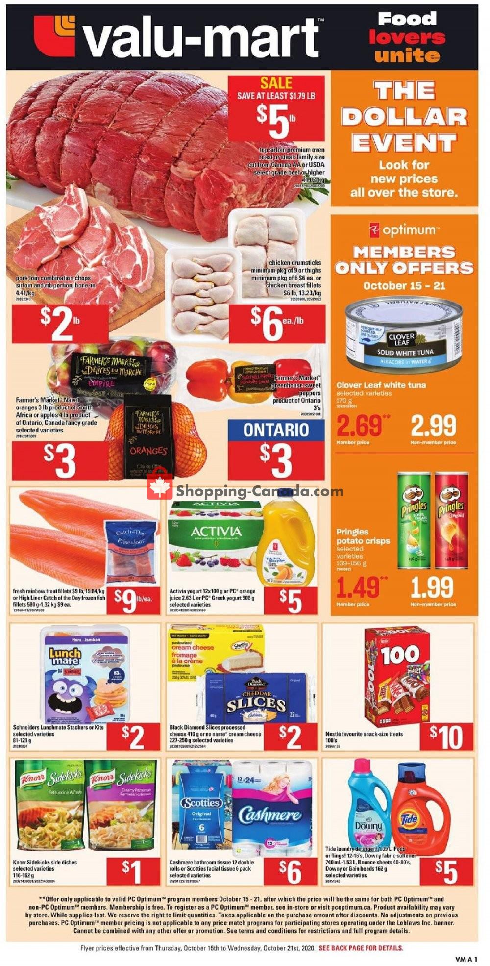 Flyer Valu Mart Canada - from Thursday October 15, 2020 to Wednesday October 21, 2020