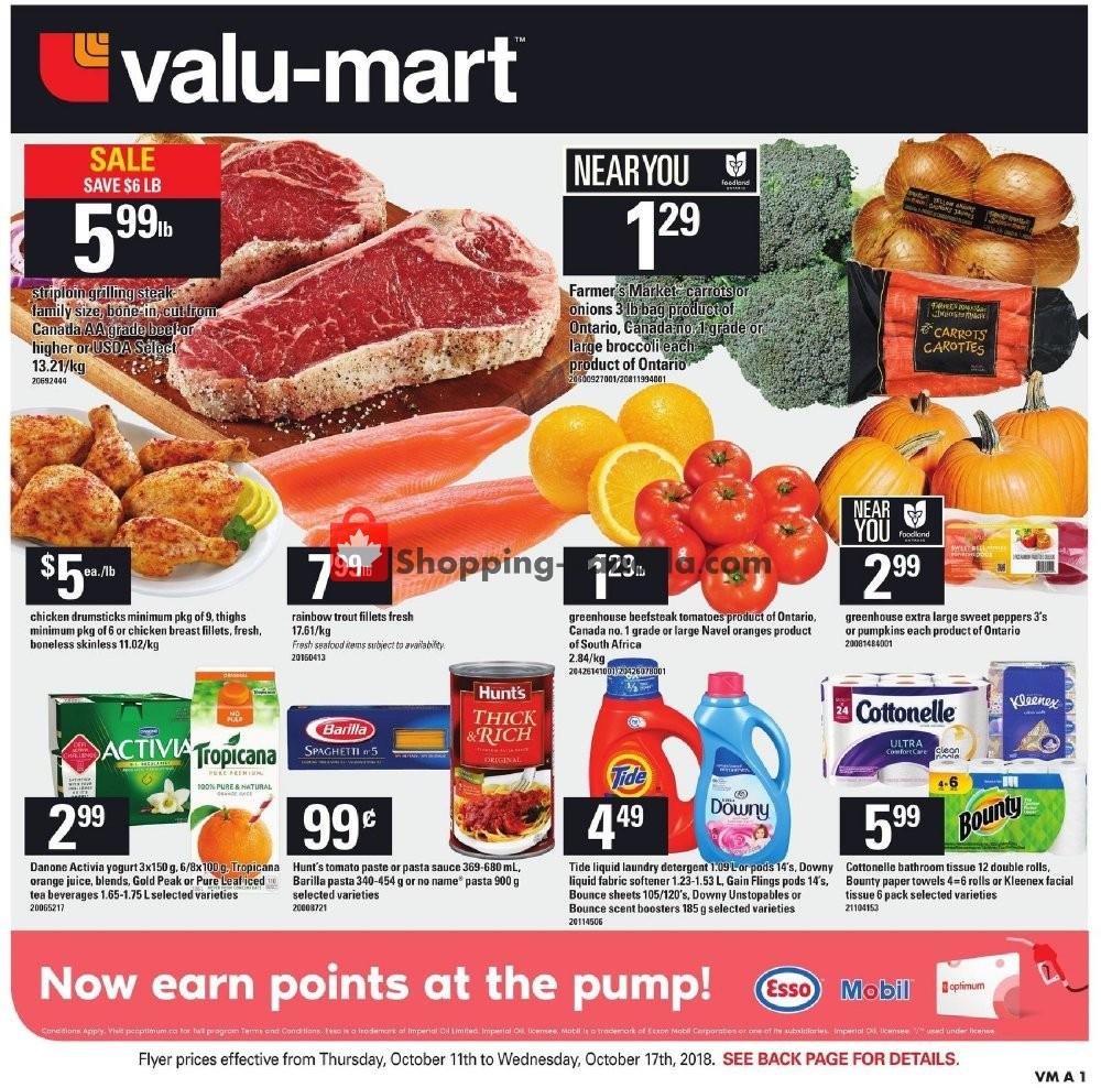 Flyer Valu Mart Canada - from Thursday October 11, 2018 to Wednesday October 17, 2018