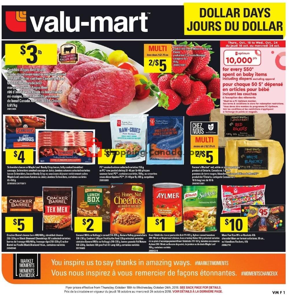 Flyer Valu Mart Canada - from Thursday October 18, 2018 to Wednesday October 24, 2018