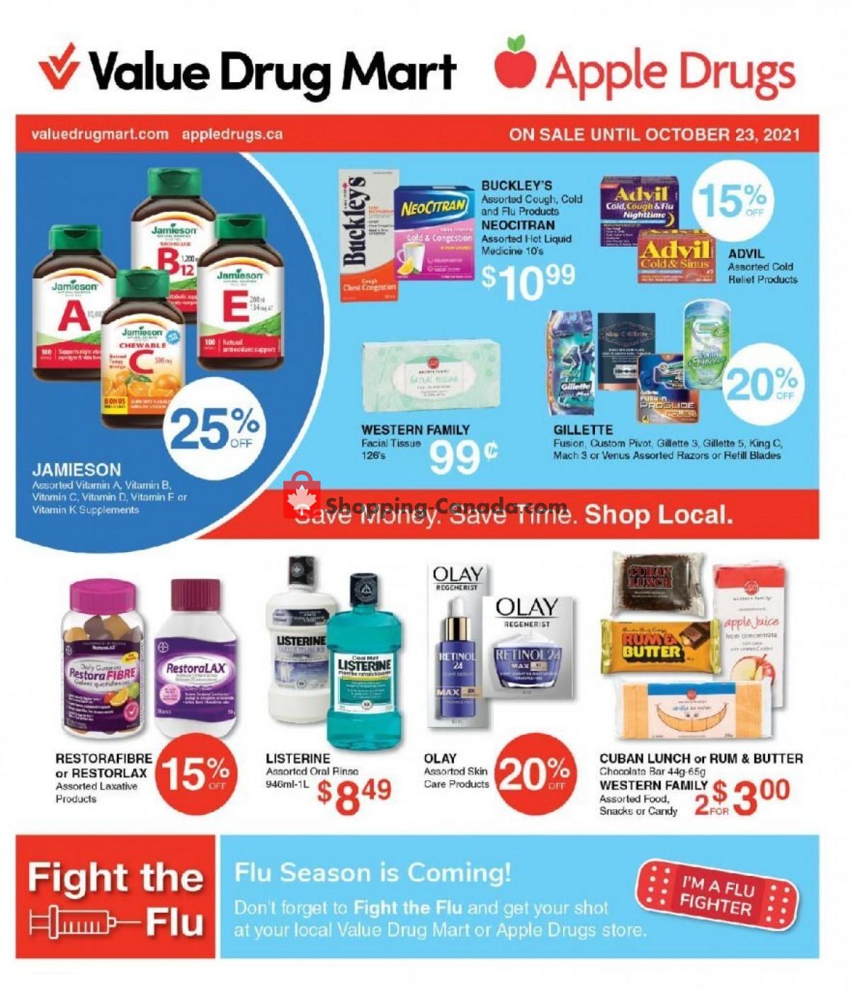 Flyer Value Drug Mart Canada - from Sunday October 10, 2021 to Saturday October 23, 2021