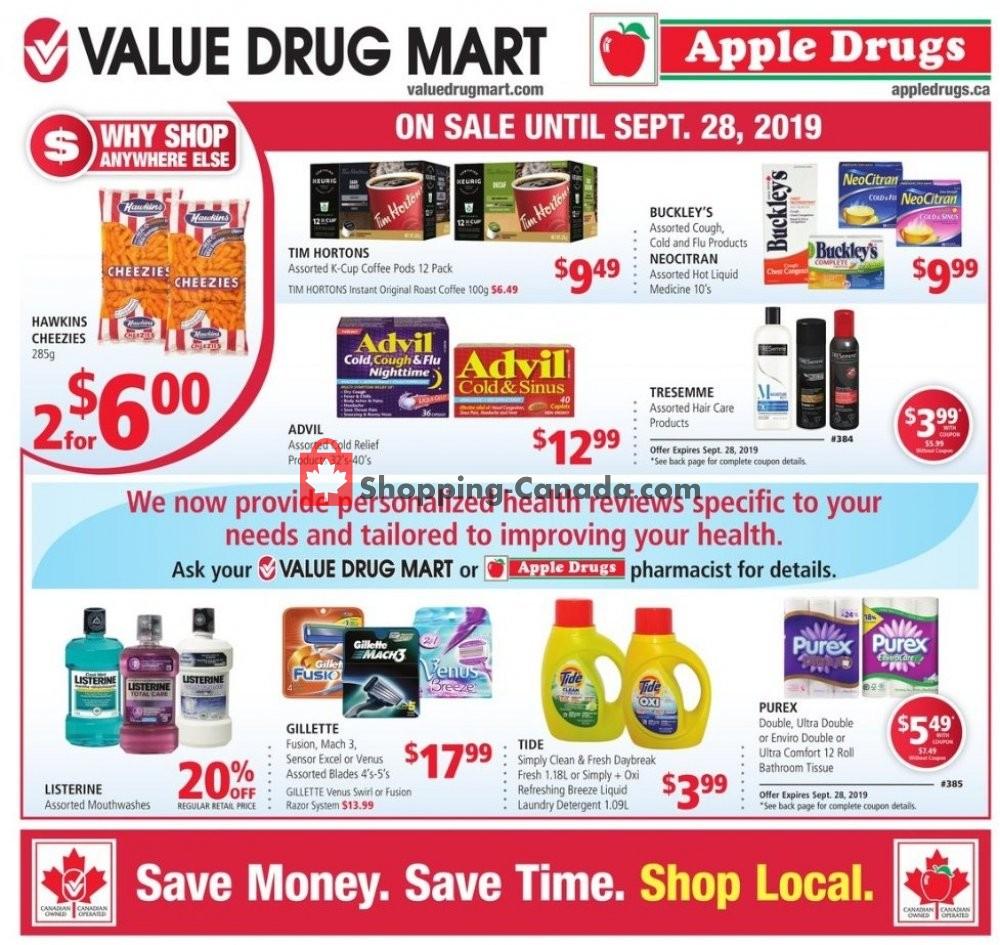 Flyer Value Drug Mart Canada - from Sunday September 15, 2019 to Saturday September 28, 2019
