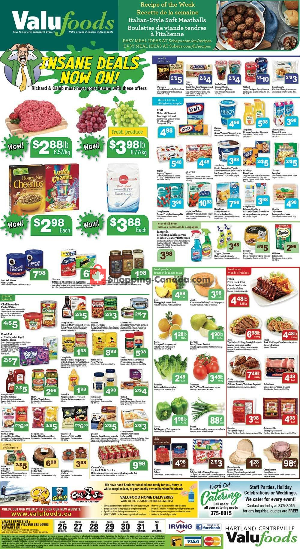 Flyer Valufoods Canada - from Thursday March 26, 2020 to Wednesday April 1, 2020