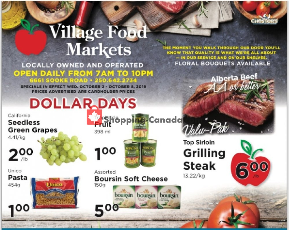 Flyer Village Food Market Canada - from Wednesday October 2, 2019 to Tuesday October 8, 2019
