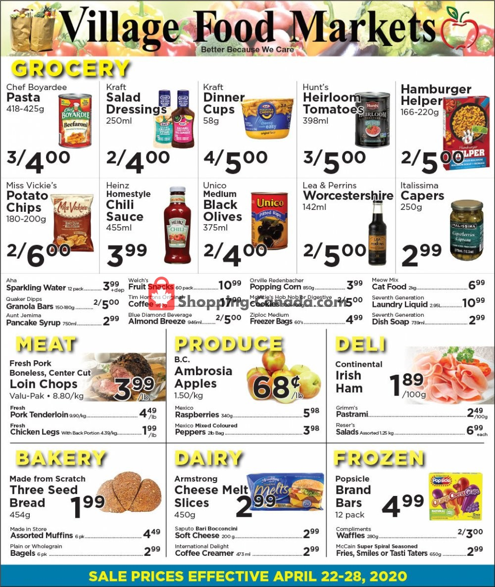 Flyer Village Food Market Canada - from Wednesday April 22, 2020 to Tuesday April 28, 2020
