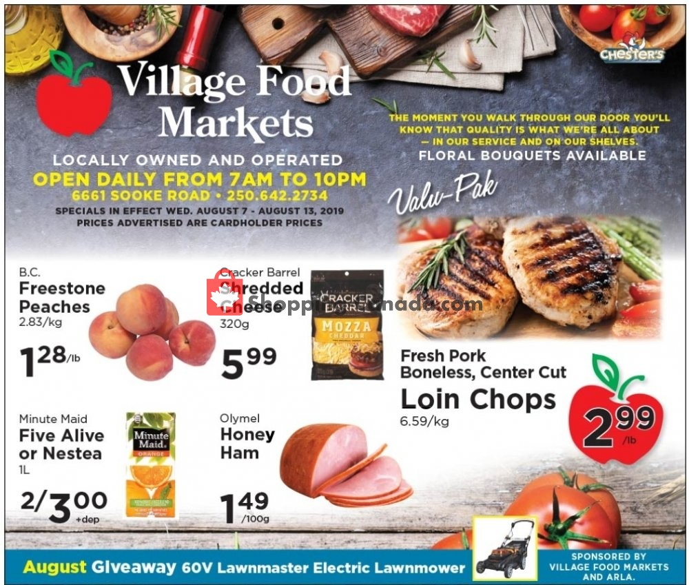 Flyer Village Food Market Canada - from Wednesday August 7, 2019 to Tuesday August 13, 2019