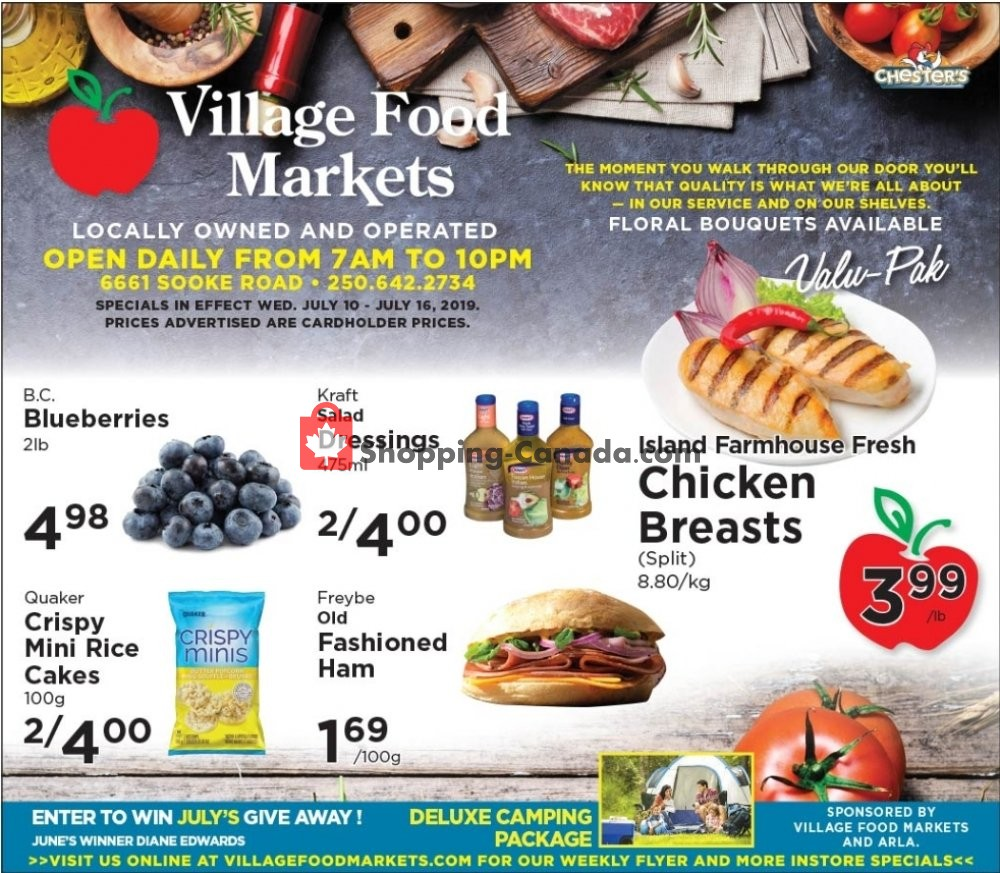 Flyer Village Food Market Canada - from Wednesday July 10, 2019 to Tuesday July 16, 2019