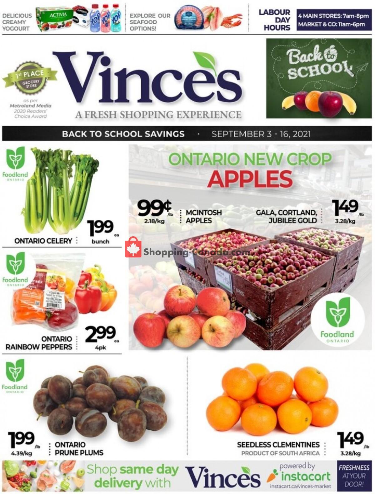 Flyer Vince's Market Canada - from Friday September 3, 2021 to Thursday September 16, 2021