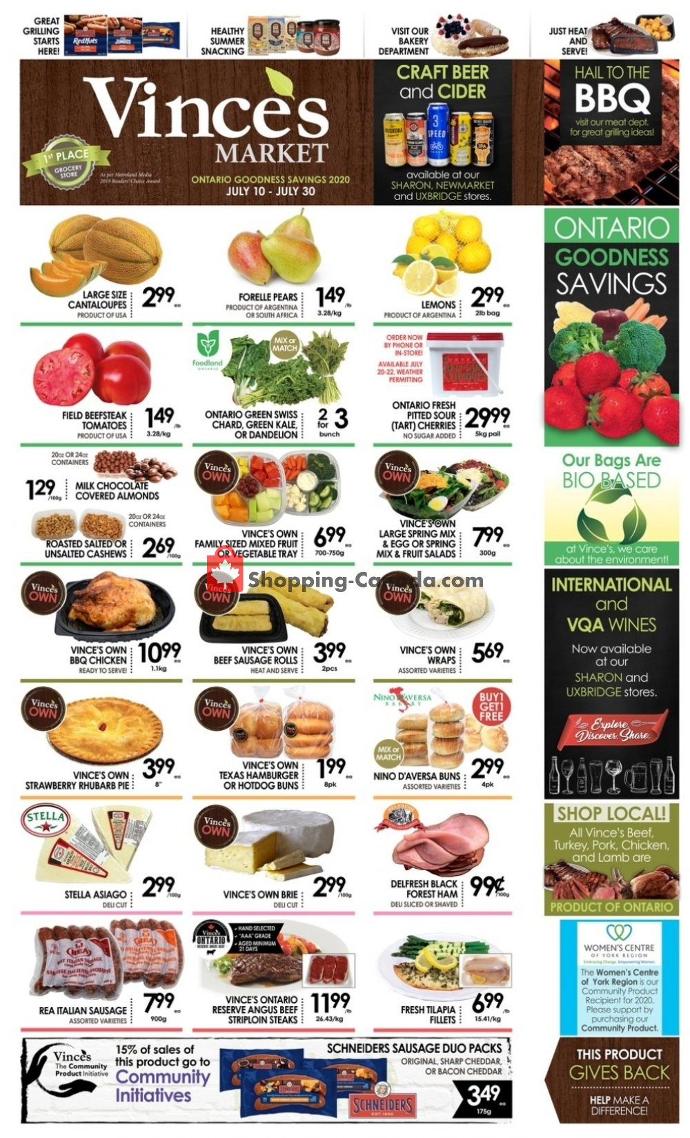 Flyer Vince's Market Canada - from Friday July 10, 2020 to Thursday July 30, 2020