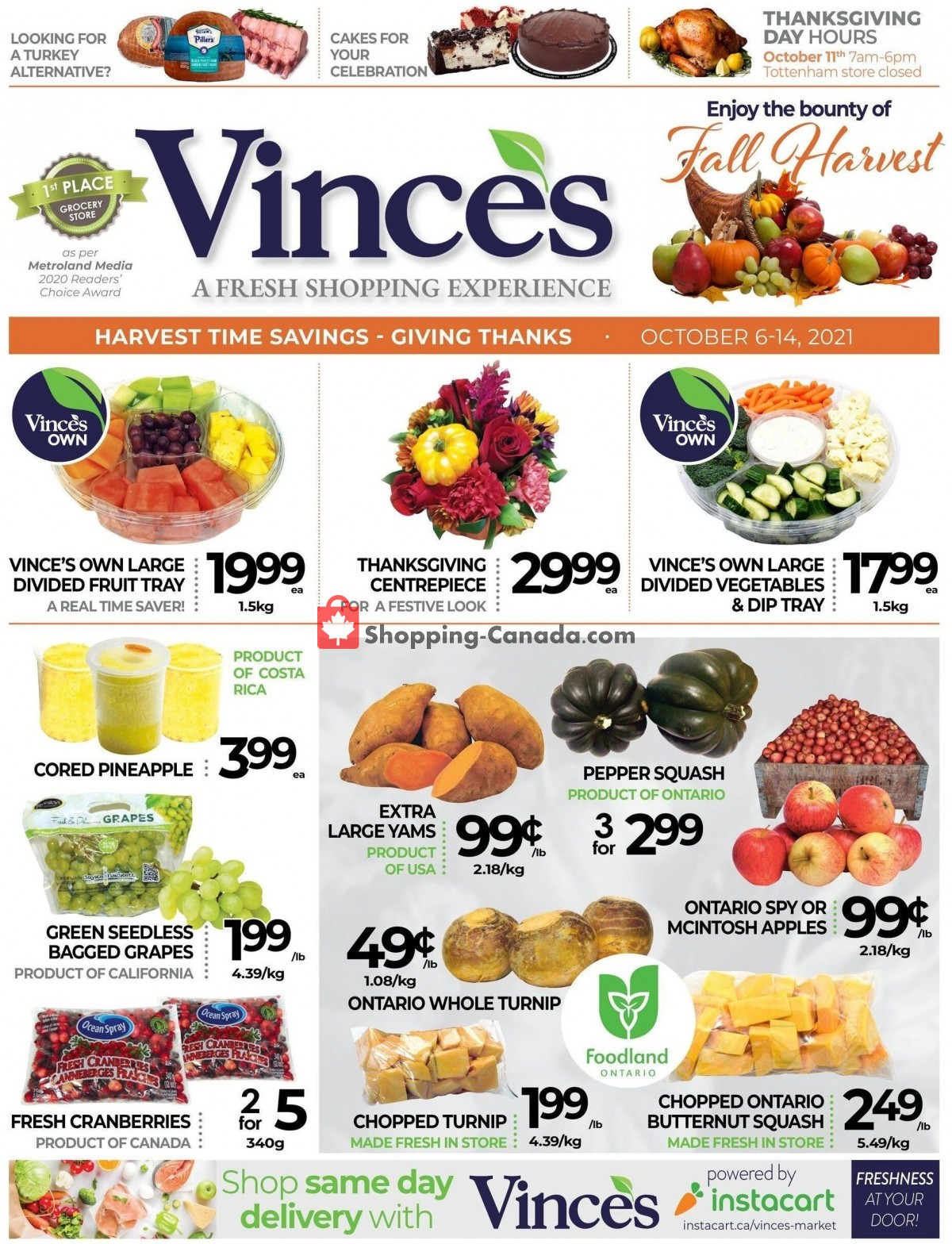 Flyer Vince's Market Canada - from Wednesday October 6, 2021 to Thursday October 14, 2021