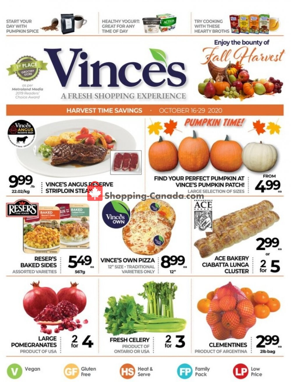 Flyer Vince's Market Canada - from Friday October 16, 2020 to Thursday October 29, 2020