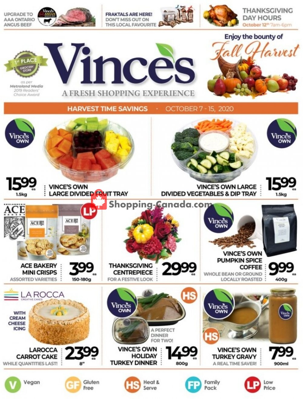 Flyer Vince's Market Canada - from Wednesday October 7, 2020 to Thursday October 15, 2020