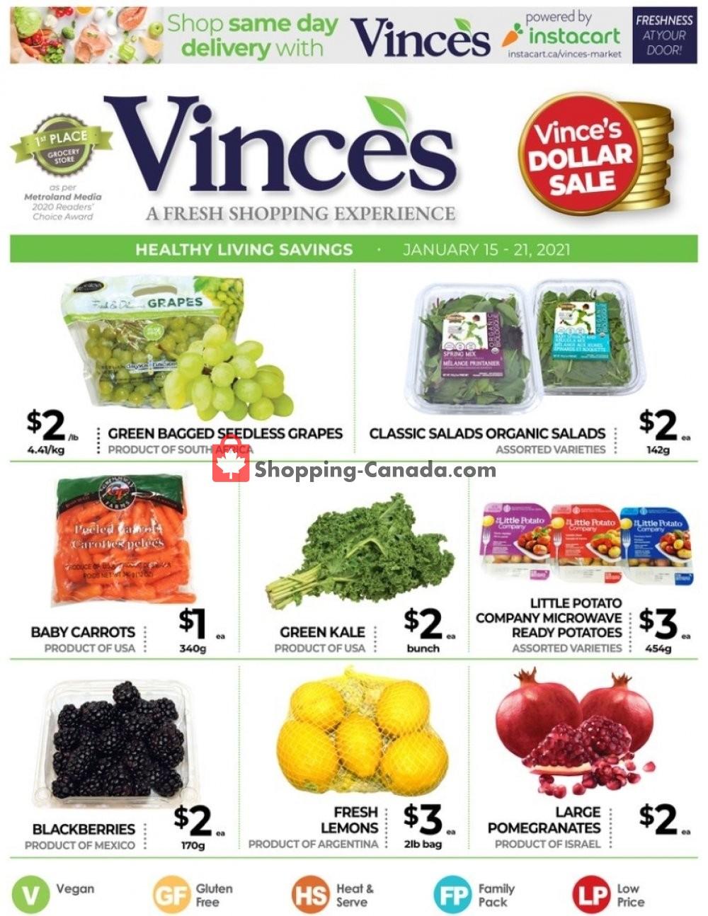 Flyer Vince's Market Canada - from Friday January 15, 2021 to Thursday January 21, 2021