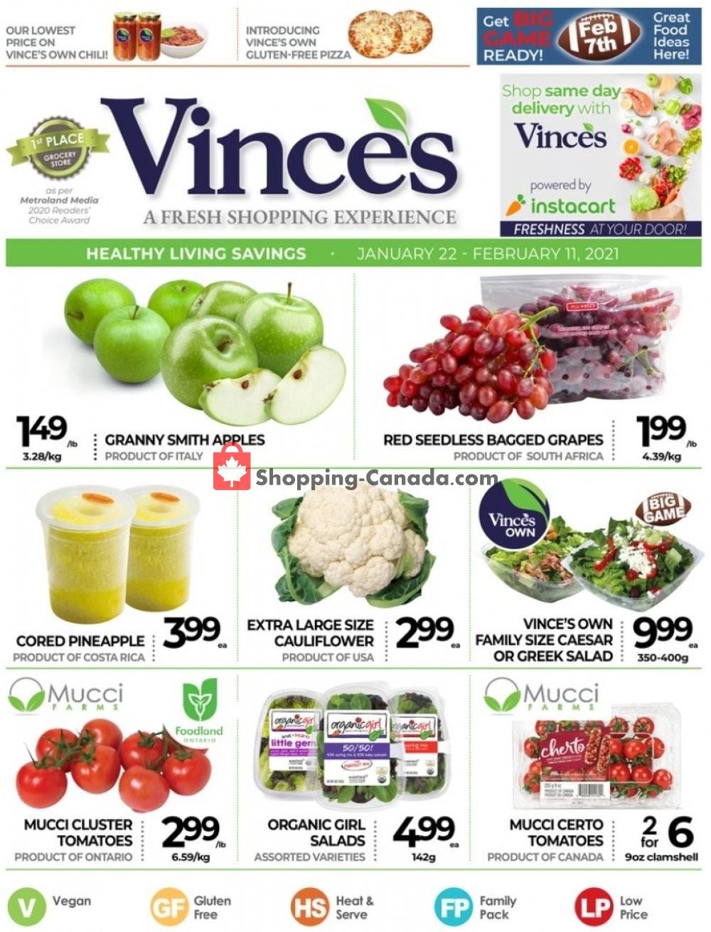 Flyer Vince's Market Canada - from Friday January 22, 2021 to Thursday February 11, 2021