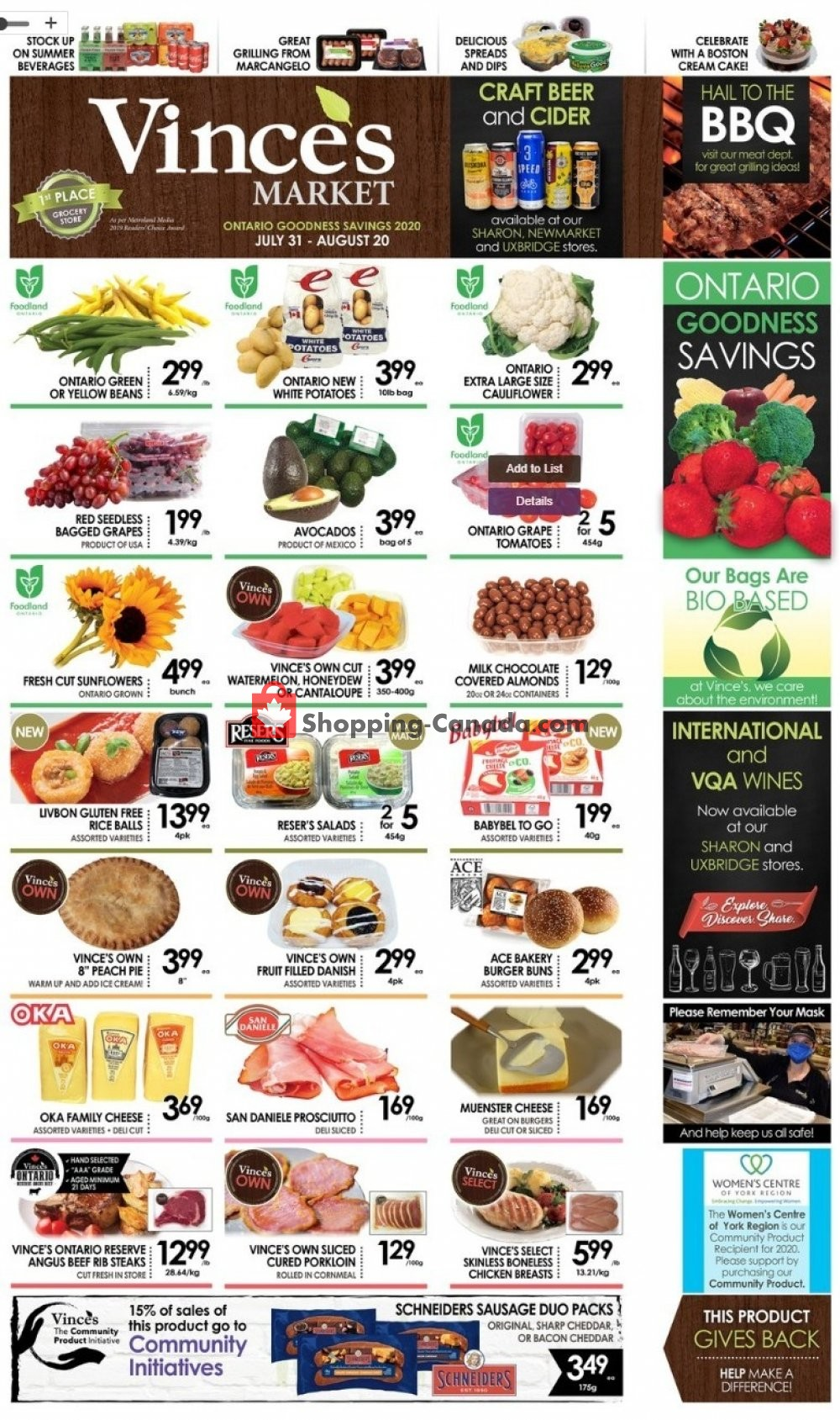 Flyer Vince's Market Canada - from Friday July 31, 2020 to Thursday August 20, 2020