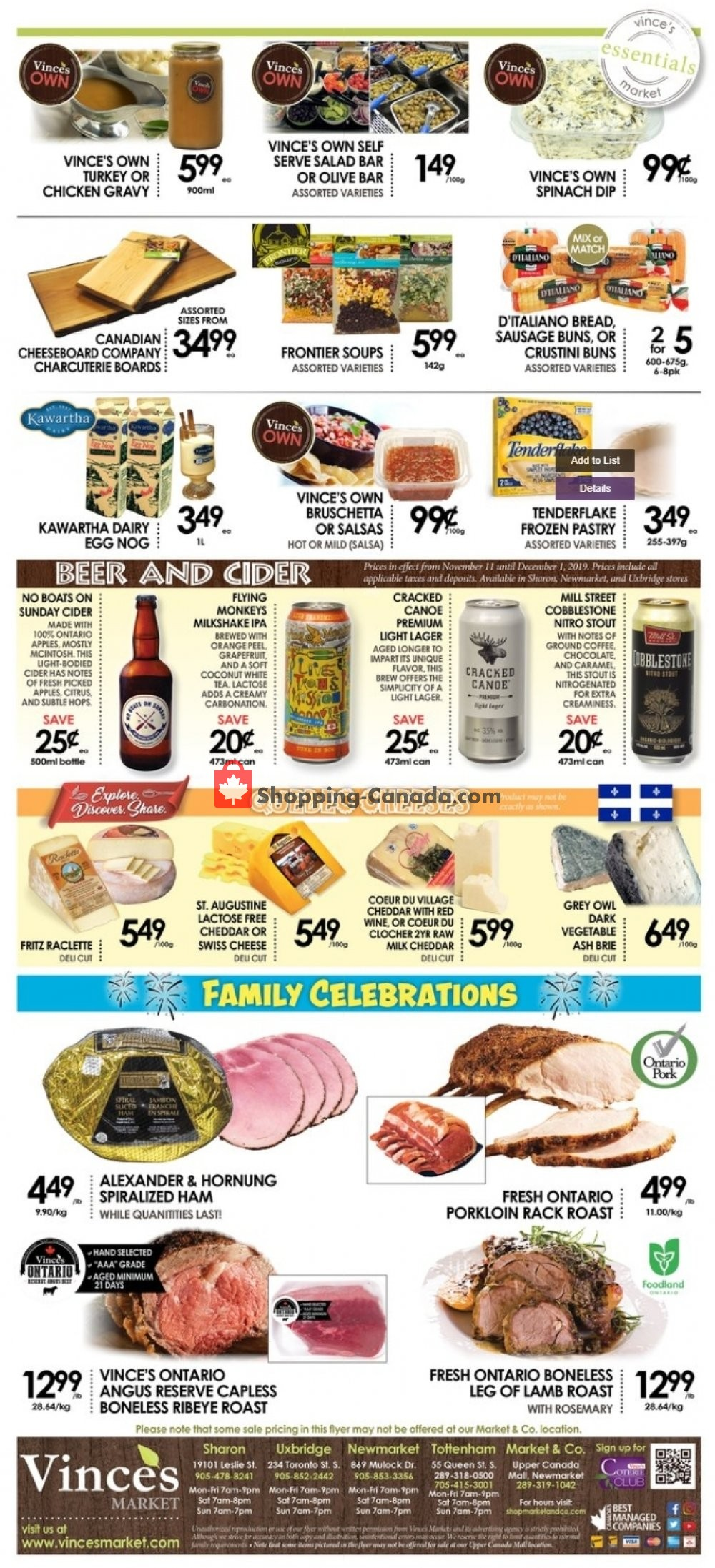Flyer Vince's Market Canada - from Friday November 8, 2019 to Thursday November 21, 2019