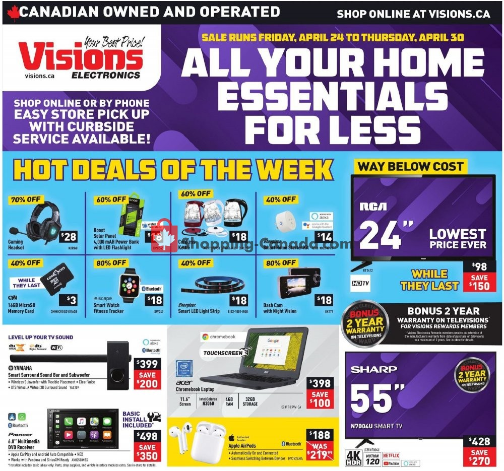 Flyer Visions Electronics Canada - from Friday April 24, 2020 to Thursday April 30, 2020