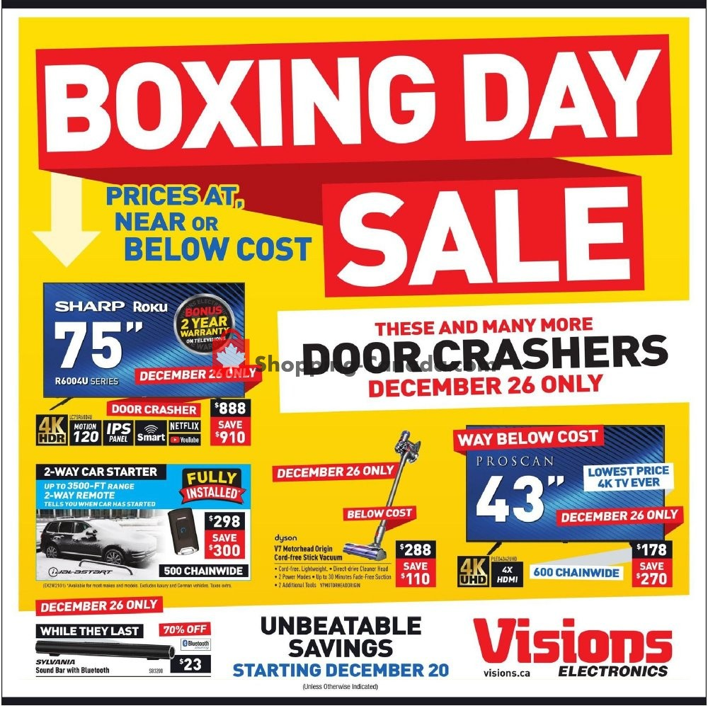 Visions Electronics Canada Flyer Boxing Day Sale December 20 January 2 2020 Shopping Canada