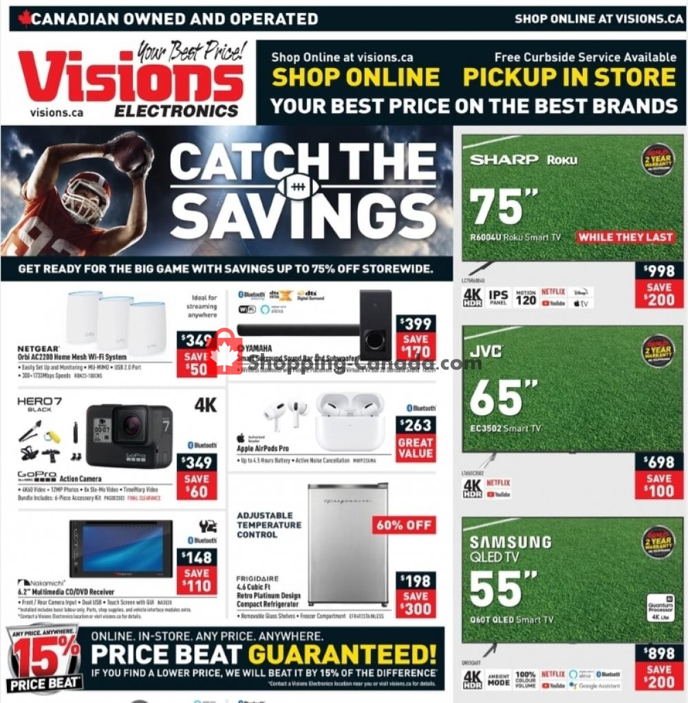 Flyer Visions Electronics Canada - from Friday January 22, 2021 to Thursday January 28, 2021