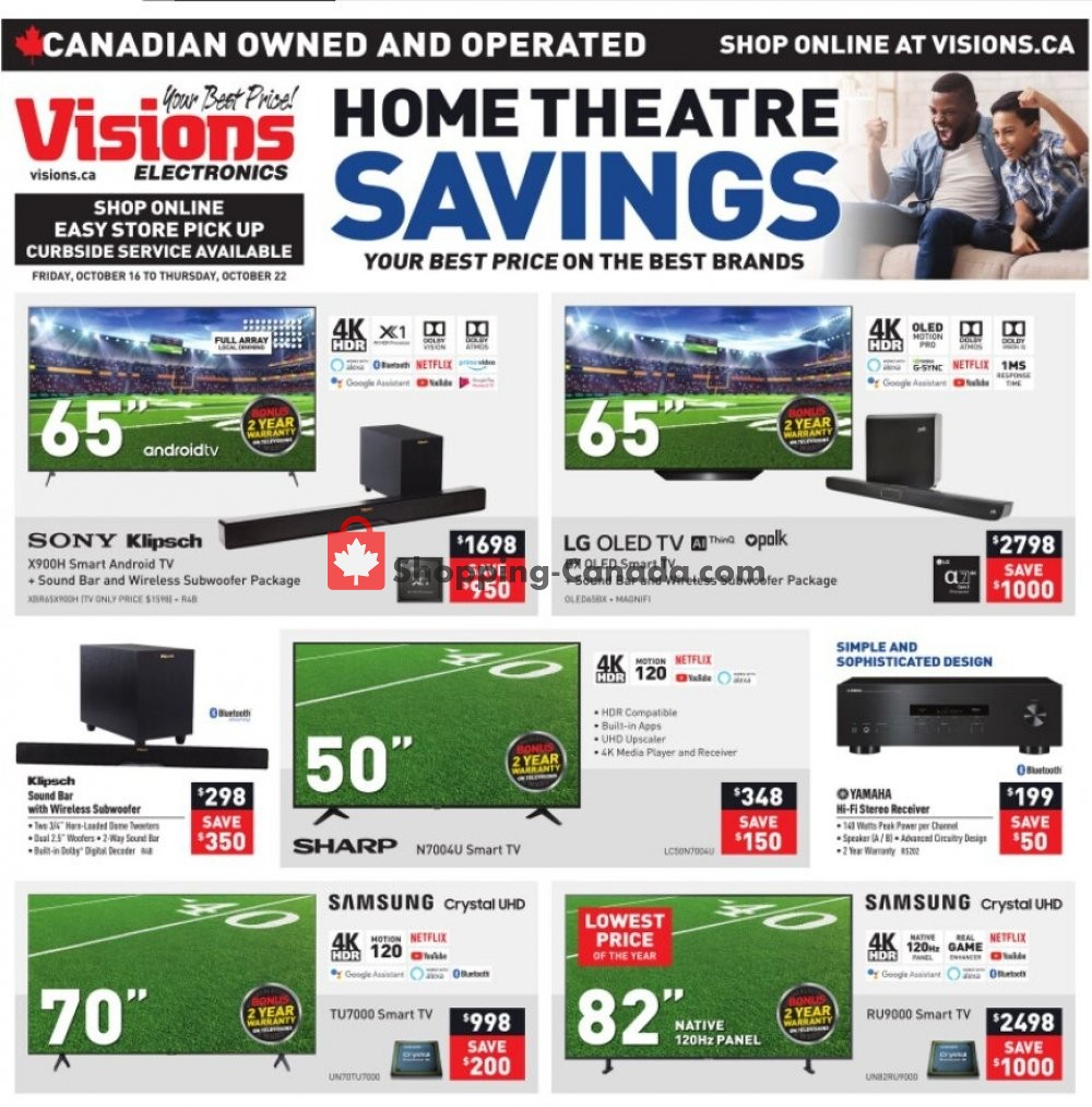 Flyer Visions Electronics Canada - from Friday October 16, 2020 to Thursday October 22, 2020
