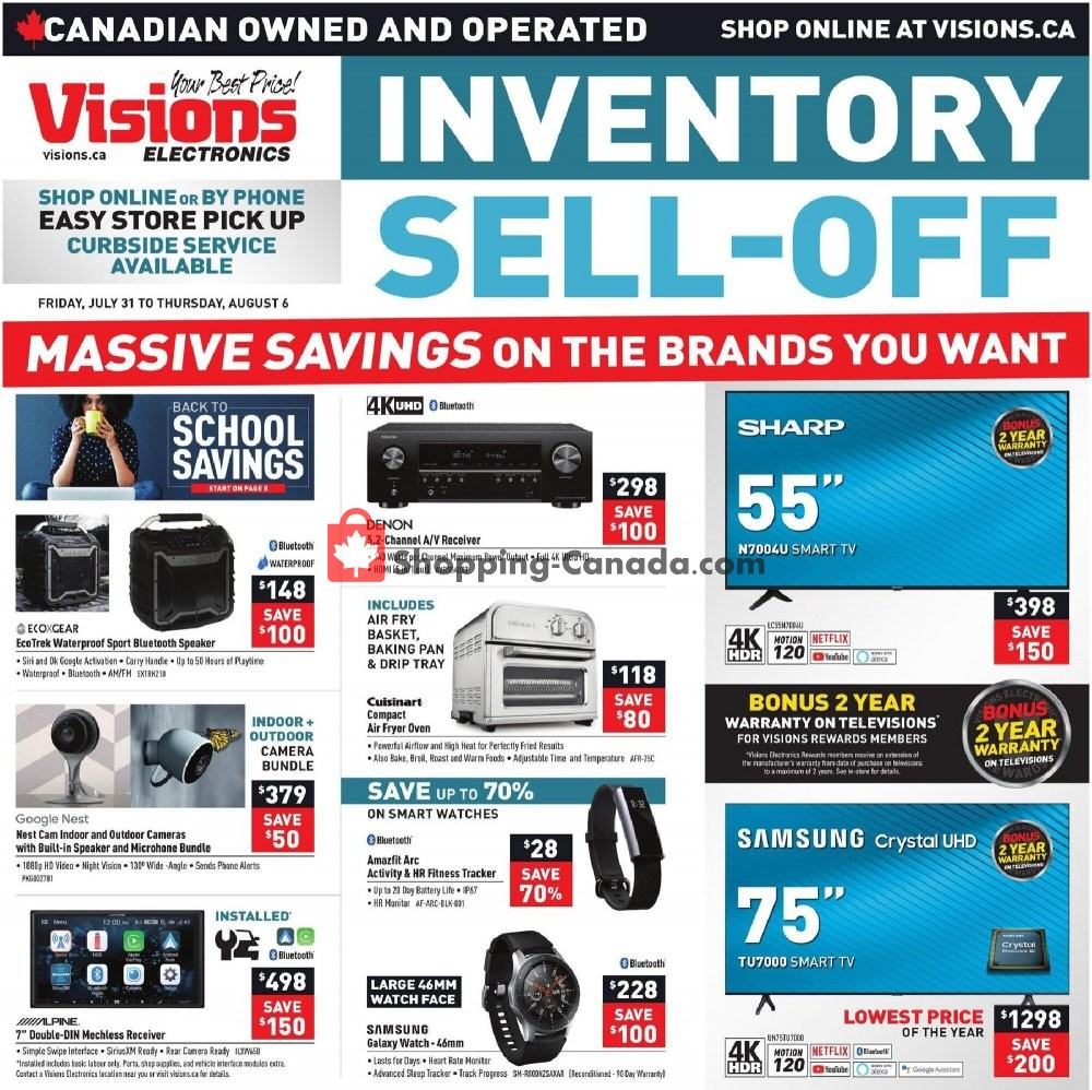 Flyer Visions Electronics Canada - from Friday July 31, 2020 to Thursday August 6, 2020