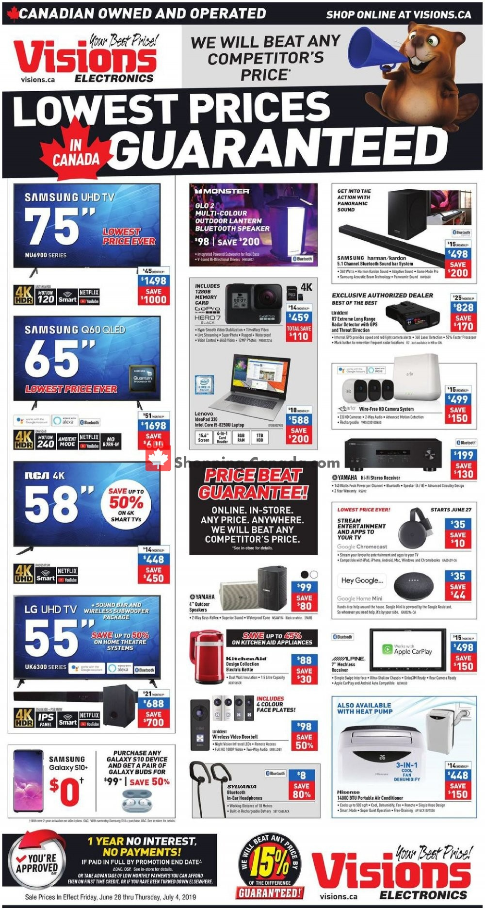 Flyer Visions Electronics Canada - from Friday June 28, 2019 to Thursday July 4, 2019