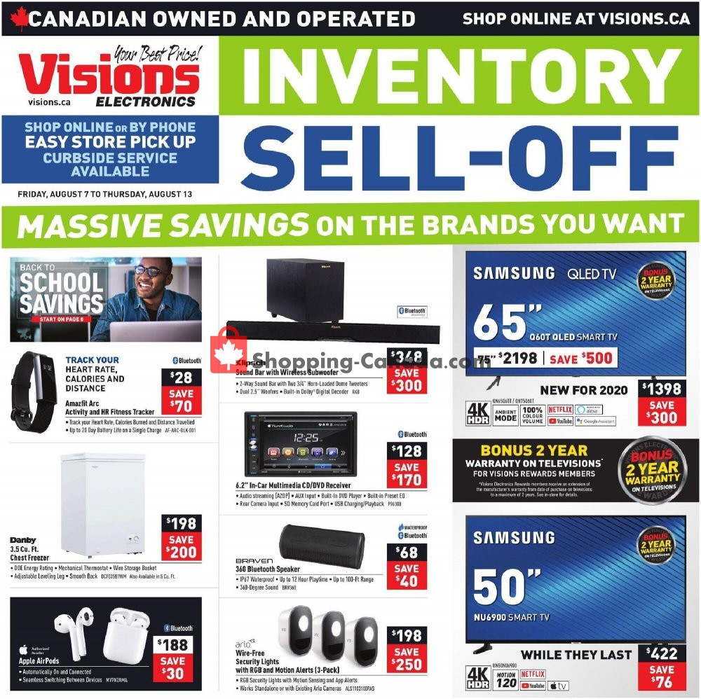 Flyer Visions Electronics Canada - from Friday August 7, 2020 to Thursday August 13, 2020