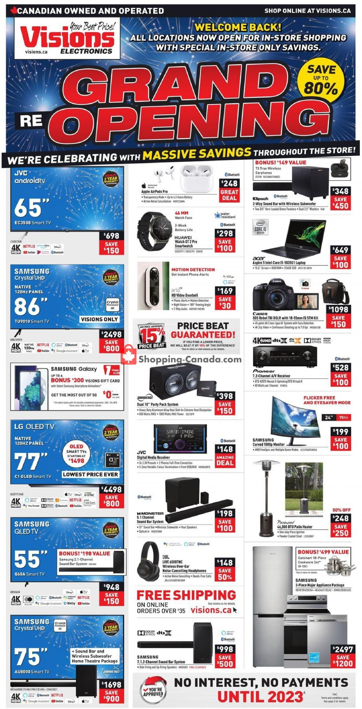 Flyer Visions Electronics Canada - from Friday September 3, 2021 to Thursday September 9, 2021