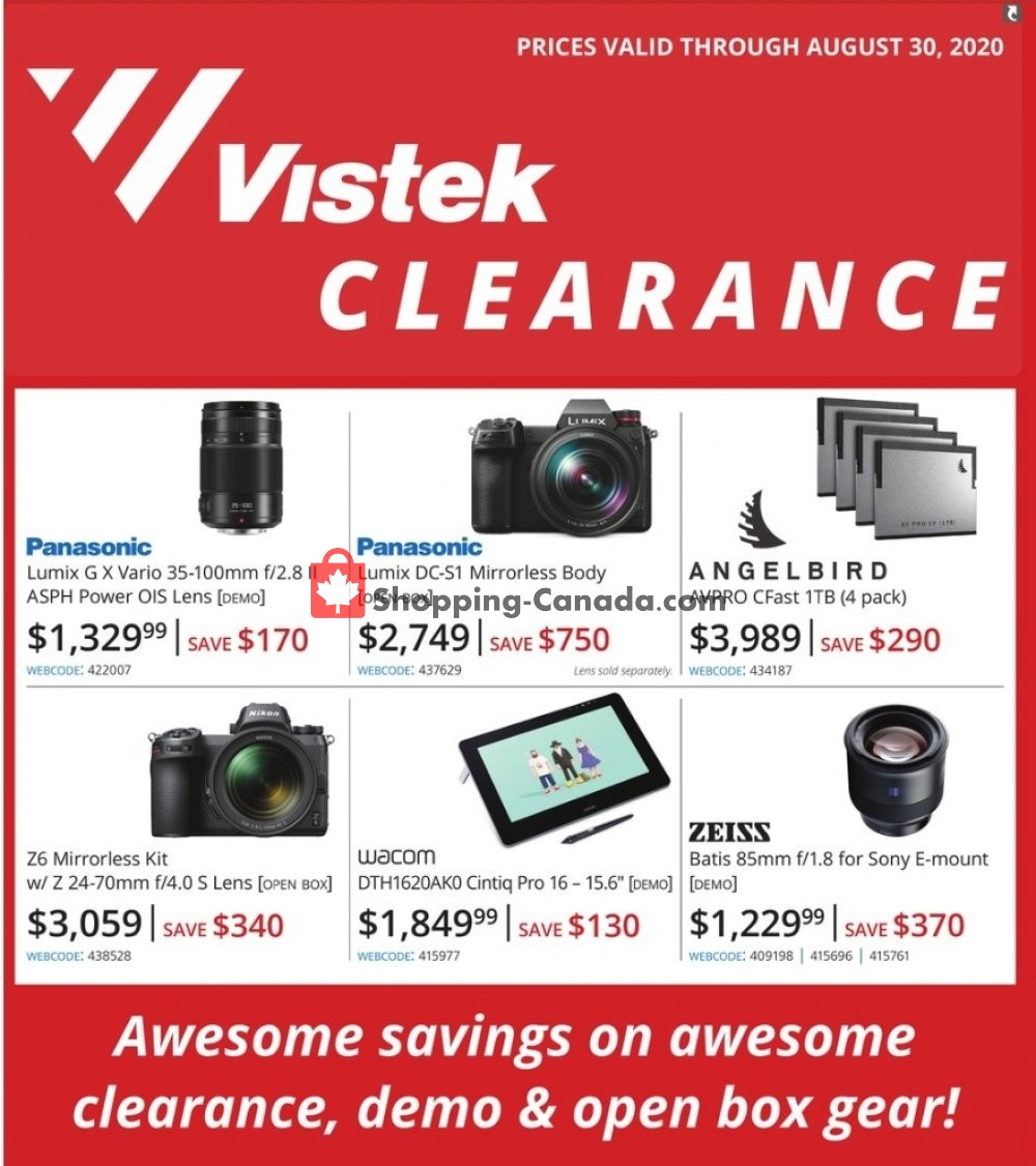 Flyer Vistek Canada - from Wednesday July 29, 2020 to Sunday August 30, 2020