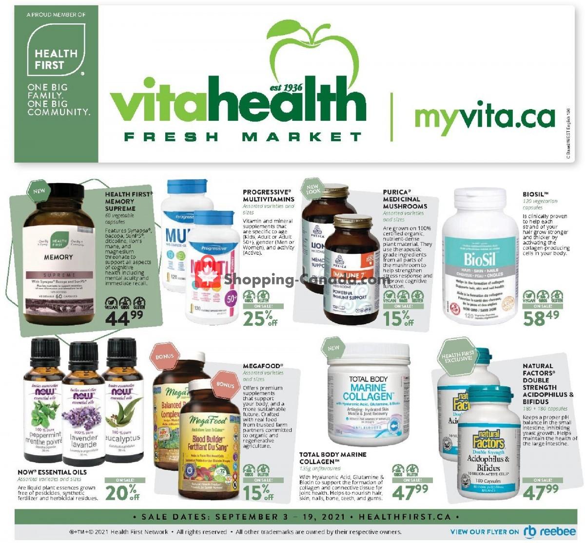 Flyer Vita Health Fresh Market Canada - from Friday September 3, 2021 to Sunday September 19, 2021