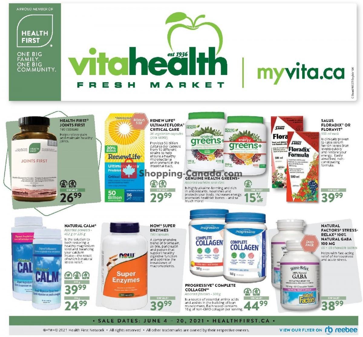 Flyer Vita Health Fresh Market Canada - from Friday June 4, 2021 to Sunday June 20, 2021