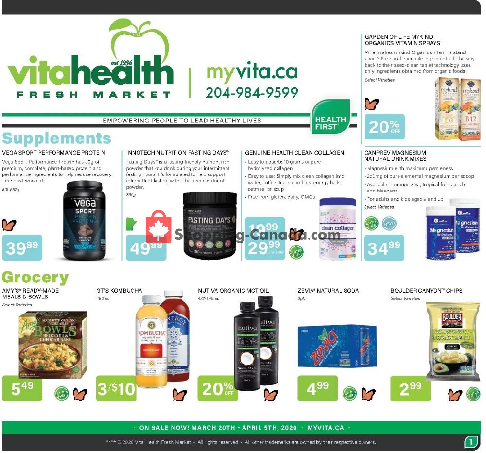 Flyer Vita Health Fresh Market Canada - from Friday March 20, 2020 to Sunday April 5, 2020