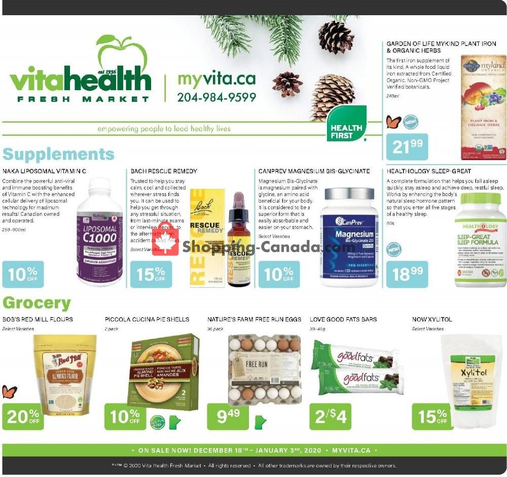 Flyer Vita Health Fresh Market Canada - from Friday December 18, 2020 to Sunday January 3, 2021